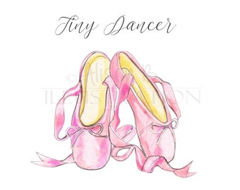 Ballerina Dance Pink Shoe Print Illustration Watercolor Art