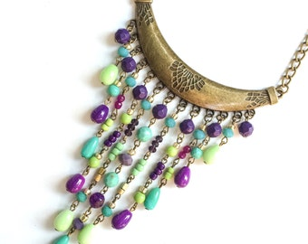 Colourful lemon green, turquoise and purple crystals long necklace - bohemian design - hippie & ibiza, beaded necklace