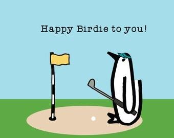 Happy Birdie! Penguin, Birthday, Golf