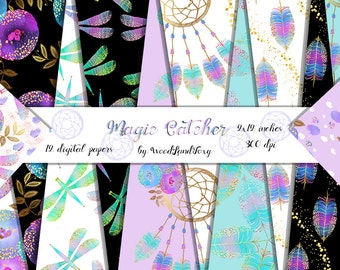 Dream catcher digital papers instant download. Feathers digital paper with gold confetti, flowers, dragonflies, Gold paint papers. 12x12