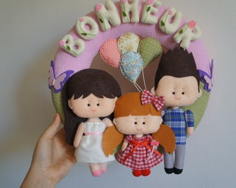 Crown family happiness in felt 100% handmade