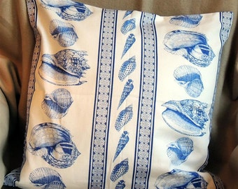 Cushion cover, blue and white shell pattern
