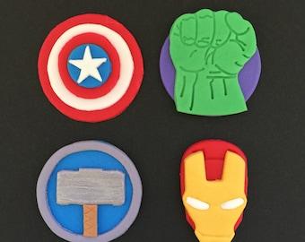 12 Avengers Superhero Inspired Cupcake Toppers-Fondant