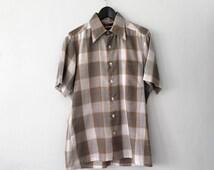Vintage 70s Mustard Yellow Plaid Shirt | Career Club Short Sleeve Button Down