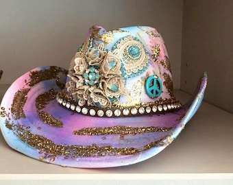 Cowboyhat, with glitter and Swarovski