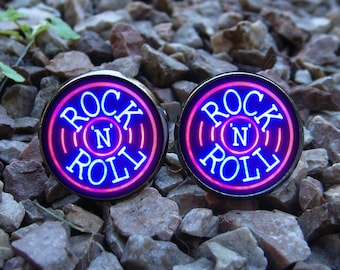 Glowing Cufflinks Rock'n'roll / Music Cufflinks / Rock Cufflinks / Rock n roll Cuff Links / Gift Boyfriend / Men Jewelry / Glows in the Dark