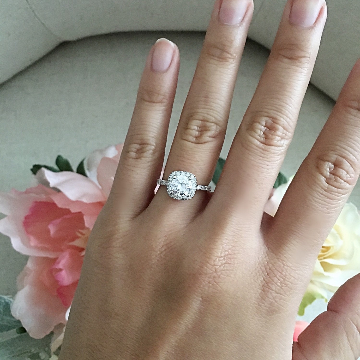 Square round diamond halo engagement ring wedding ring