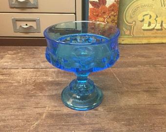Vintage Blue Glass Textured Bowl Dish