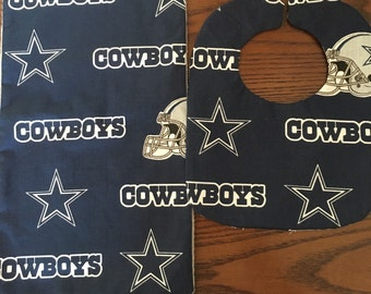 Dallas Cowboys bib and burp rag set