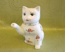 Vintage Chinese Kitty Cat Teapot, Ceramic Cat Teapot