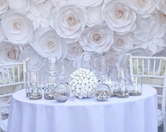 Paper Flower Wall - Wedding Flower Wall - Paper Flower Backdrop - Large Paper Flowers