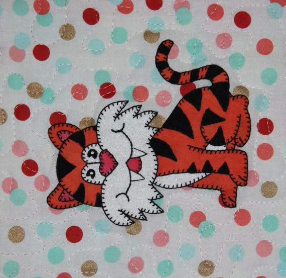 Tiger Pdf Applique Quilt Block Pattern Whimsical Baby Or