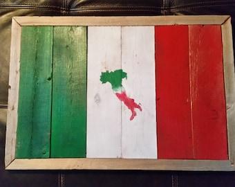 Reclaimed wood Italian flag