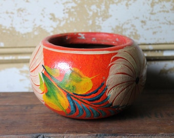 Vintage Pottery Planter from Mexico, Red ,Flowers