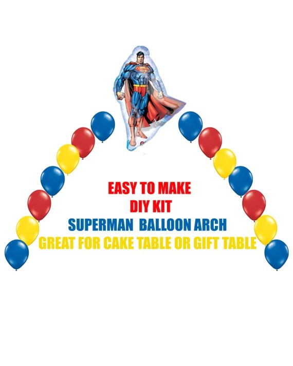 Superman balloon arch birthday party do it yourself by for Balloon arch frame kit party balloons decoration