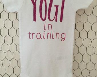 Yogi in Training Bodysuit Pink Glitter Baby Yoga
