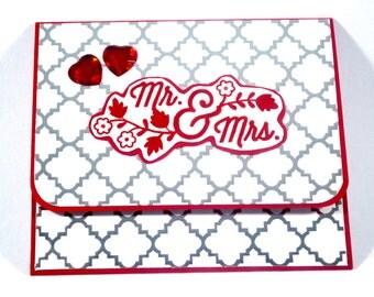 Wedding Gift card holder / Money Holder / Red and silver gift card holder