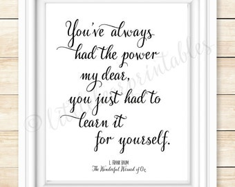 L. Frank Baum quote, printable wall art, You've always had the power my dear, you just had to learn it for yourself, Wizard of Oz book quote