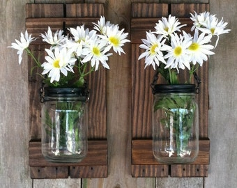 Mason Jar Candle or Flower Holder Reclaimed Wood Wall Sconce