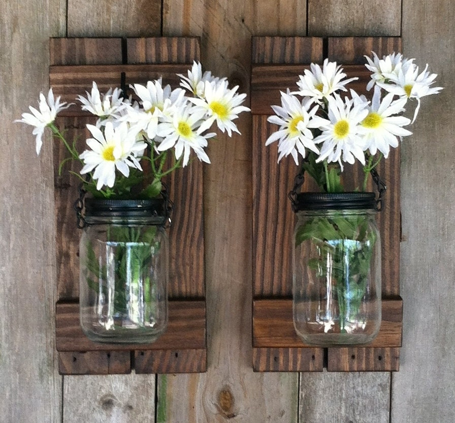 Wall Sconces That Hold Flowers: Mason Jar Candle Or Flower Holder Reclaimed Wood Wall Sconce