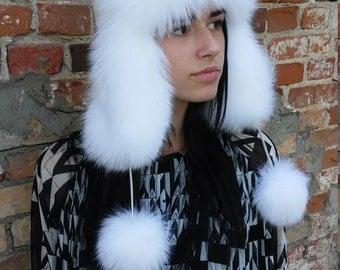 White fox fur winter hat- ušanka