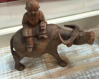 Vintage Asian Wooden Cow Statuette