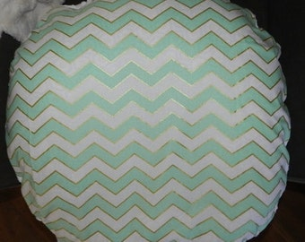 Metalic Aqua Chevron  Boppy Lounger Cotton/Minky White Boppy  Lounger Cover