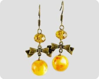 Dangle Drop earrings with orange yellow glass bead handmade everyday jewelry Earrings nice sweet 16 gift