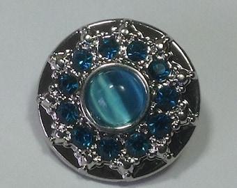 New! BLUE CATSEYE & Blue rhinestone Snap...Metal..fits 18-20mm