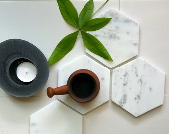New***   Hexagon Marble Coasters. Carrara White Hexagon Marble. Geometric Marble. Set of 4. Set of 6