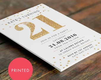 Printed Gold Sparkle 21st Birthday Invitation A6 (105 X 148mm)