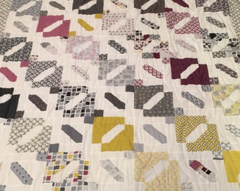 1 new quilt for sale, quilts, homemade, handmade, modern, vintage, lap, throw, home decor, grays, citron, burgundy
