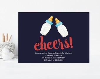 Cheers Baby Boy Shower Invitation, Baby Shower Invite, Cheers Party, Shower Invitation, Boy Baby, Printable Invitation, Baby Boy Shower