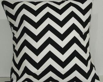 "Zig zag chevron decorative throw pillow 18 x 18"" decorator cotton black and white"