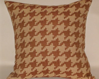 "Brown and beige houndstooth decorative accent pillow, 20"" square RTS"