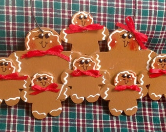 Gingerbread Couple with six kids Handpainted personalized Ornament!