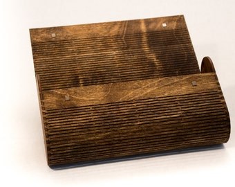 Wood Clutch Purse / Laser Cut Living Hinge / Dark Walnut