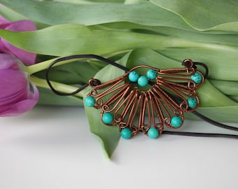 Copper wire wrapped flower pendant with turquoise beaded leaves. Copper wire jewelry. gift women. gift for her. gift for women