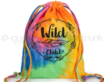Wild Child Tote Bag, Hippie Tote Bag, Hippie Purse, Gypsy Tote Bag, Boho Tote Bag, Tie Dyed Tote Bag, Rainbow Swirl Tote, Feather Print Bag