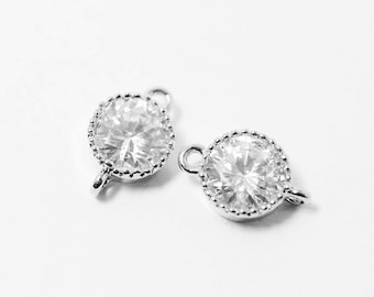 P0286/Anti-Tarnished  Rhodium Plating Over Brass/Large Cup Cubic Zirconia Pendant/15x9mm/2pcs