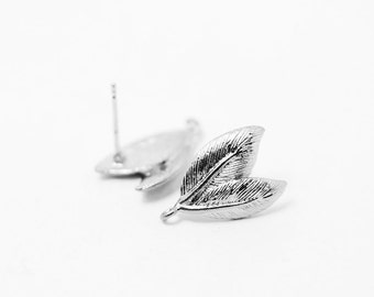 E0064/Anti-tarnished Matte Rhodium Plating Over Brass/Two Leaves Earrings /6.5 x 16mm/2pcs