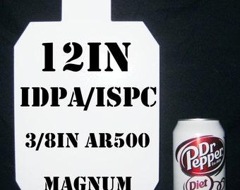 12in.Tall IDPA/ISPC Pistol Targets - 3/8in. AR500 Targets - 1pc. Metal Plate Set