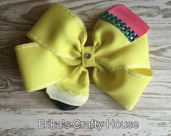 Pencil Hair Bow, pencil bow, back to school hair bow, pinwheel bow, pencil bow