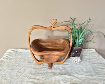 Vintage Wood Bowl / Wood Folding Bowl / Vintage Kitchen Bowl / Fruit Bowl