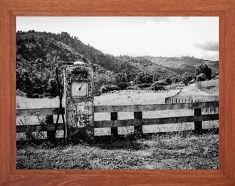 black and white photograph, abandoned petrol pump, rural landscape, digital download, old buildings