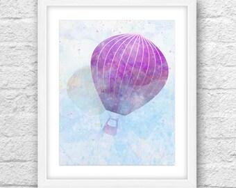 Hot Air Balloon Decorations, Hot Air Balloon Nursery, Hot Air Balloon Watercolor, Art, Download, PrintableArt, Hot Air Balloon WallDecor