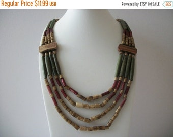 ON SALE Vintage African Bone Stained Olive Brown Earthy Trade Beads Chunky Wood Necklace 10616