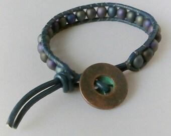 Leather Wrap Czech Bead Bracelet