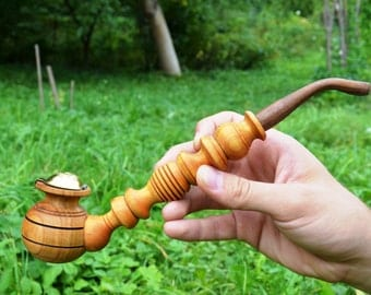 Unique smoking pipe wood pipe tobacco smoking bowl wooden wizard pipe hobbit gandalf pipe churchwarden pipe hammer long cute sherlock pipe