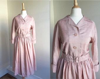 1950s Pink Shirtdress * Size Small